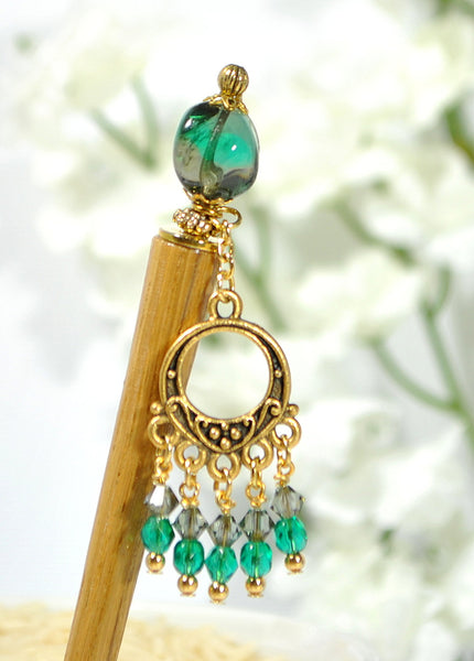 "Sold - Gypsy Hair Stick Dangle Hairstick 5 inch - ""Music in the Night"""