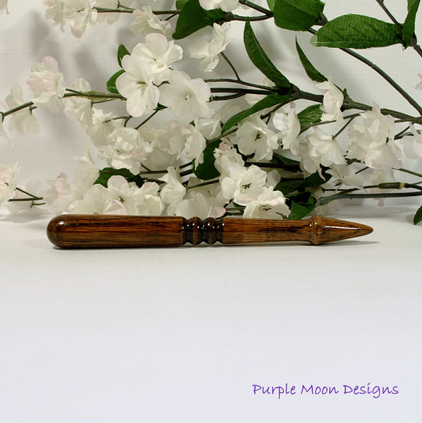 Oak Wooden Hair Stick Hand Turned Hairstick 6 inch - M15 - Handmade by Purple Moon Designs
