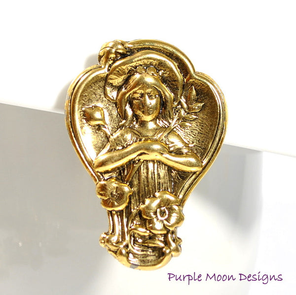 Renaissance Hair Clip, Lady in the Grotto - Purple Moon Designs - 1