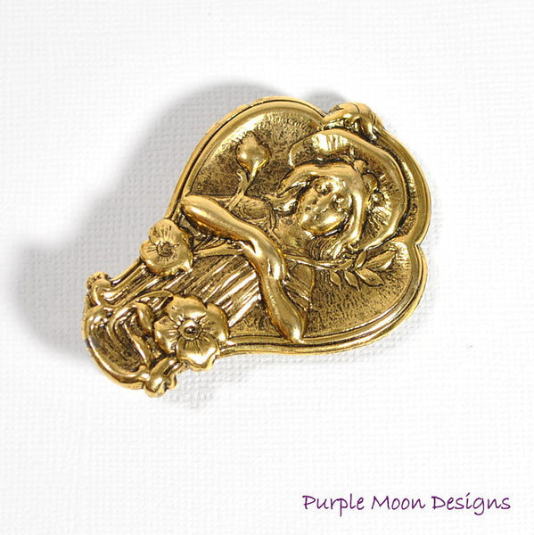 Renaissance Hair Clip, Lady in the Grotto - Purple Moon Designs - 2