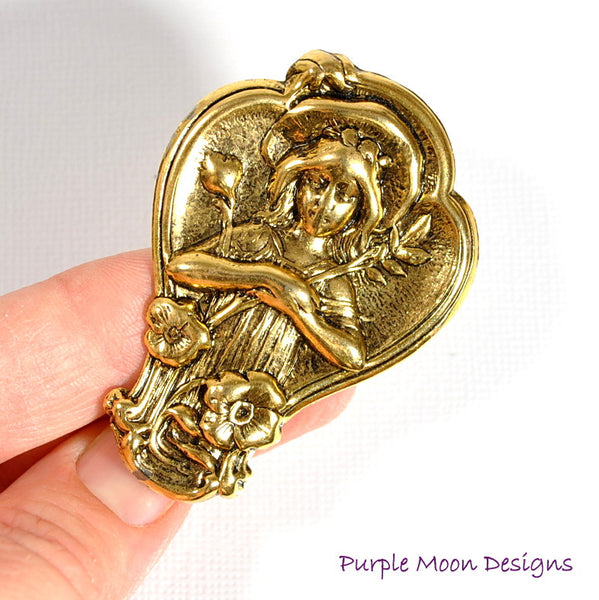 Renaissance Hair Clip, Lady in the Grotto - Purple Moon Designs - 3