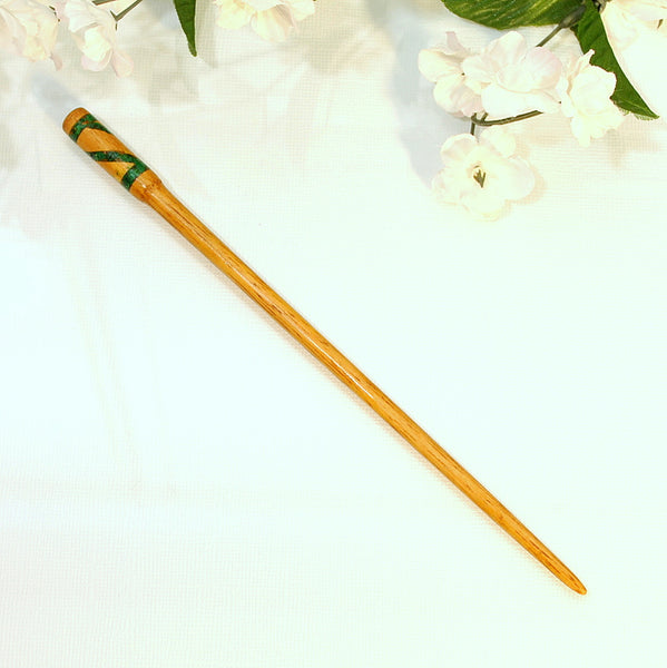 "Green Malachite Inlay Hair Stick 7"" - Purple Moon Designs - 1"