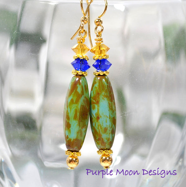 Blue Brown Dangle Earrings, Drop Earrings, Handmade Jewelry - Handmade by Purple Moon Designs
