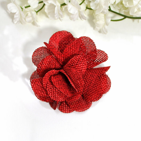 Burlap Flower Hair Clip Red Burlap Barrette - Handmade by Purple Moon Designs