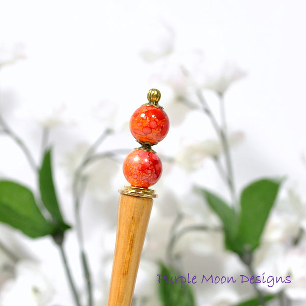 "Red Orange Hair Beads 4.5 inch Hair Stick - ""Charmed"""