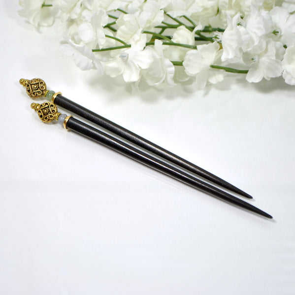 "Hair Stick Japanese Hairsticks - ""Mystery"" - Handmade by Purple Moon Designs"