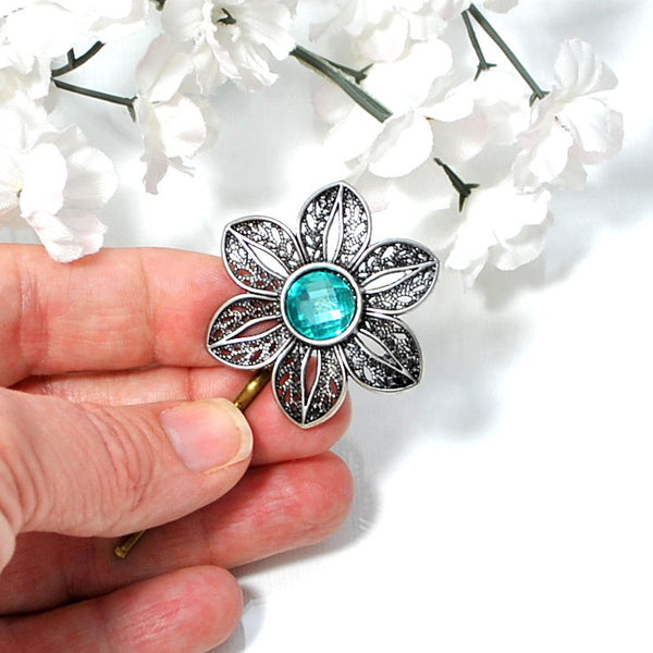 Bobby Pin Blue Silver Flower Hair Pin