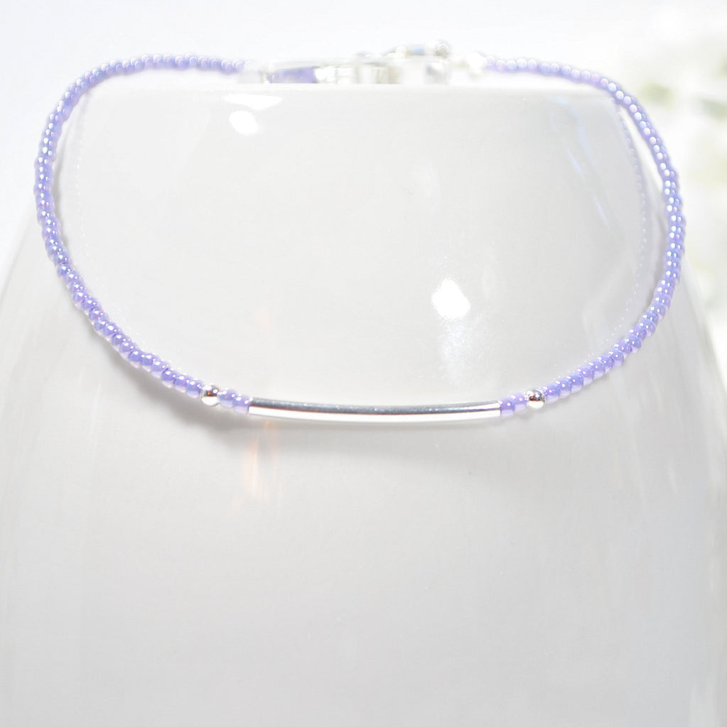 Bar Ankle Bracelet Lavender Anklet - Handmade by Purple Moon Designs