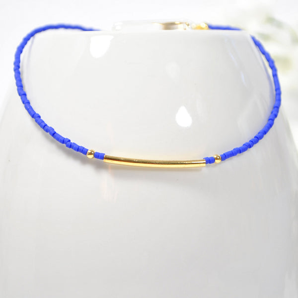 Blue Bar Anklet Blue Layering Ankle Bracelet - Handmade by Purple Moon Designs