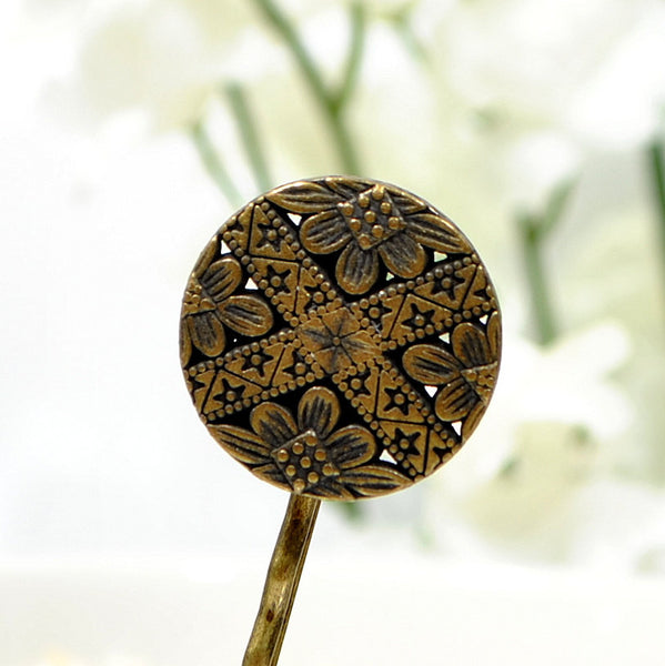 Celtic Bobby Pin Bronze Hair Pin - Handmade by Purple Moon Designs