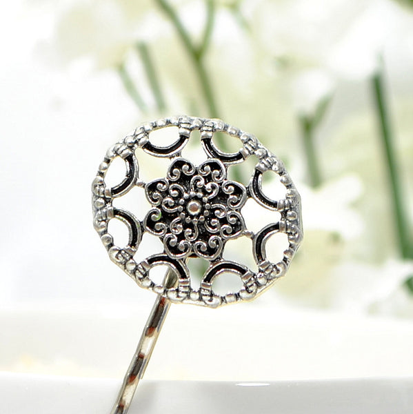 Celtic Hair Clip, Silver Bobby Pin
