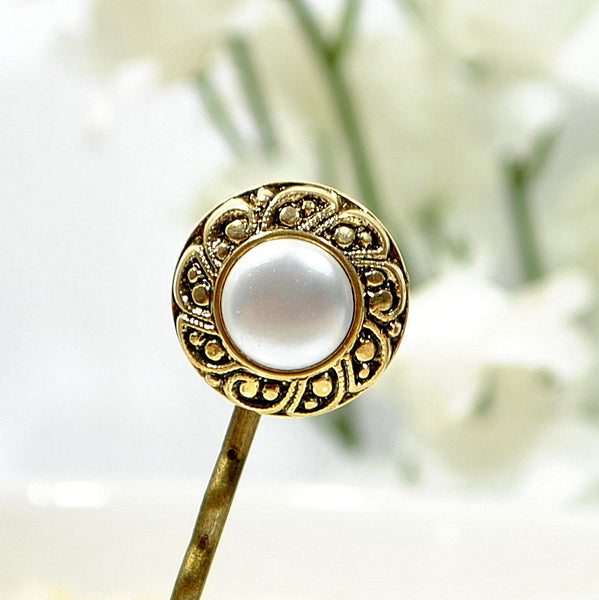 Pearl Bobby Pin Gold Hair Pin - Handmade by Purple Moon Designs