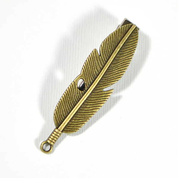 Feather Hair Clip Bronze Hair Accessories