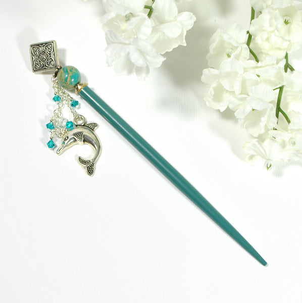 "Dolphin Hair Stick Charm Hairstick 4.75 inch - ""Muse"""