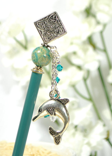 "Dolphin Hair Stick Charm Hairstick 4.75 inch - ""Muse"" - Handmade by Purple Moon Designs"
