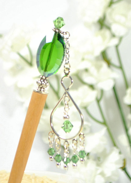 "Green Hair Stick Dangle Charm Hairstick - ""Absolute"" - Handmade by Purple Moon Designs"
