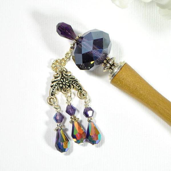 "Purple Hairstick Geisha Hair Pin 5 inch - ""Rogue"""
