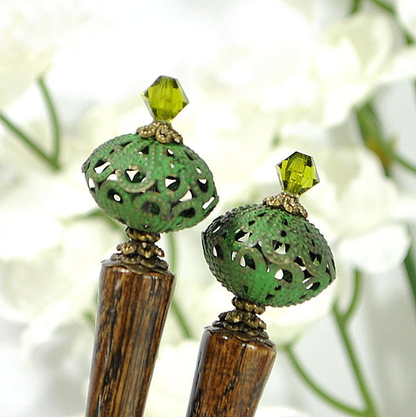 "Sold - Green Hair Sticks Beaded Hairsticks - ""Surprise"""