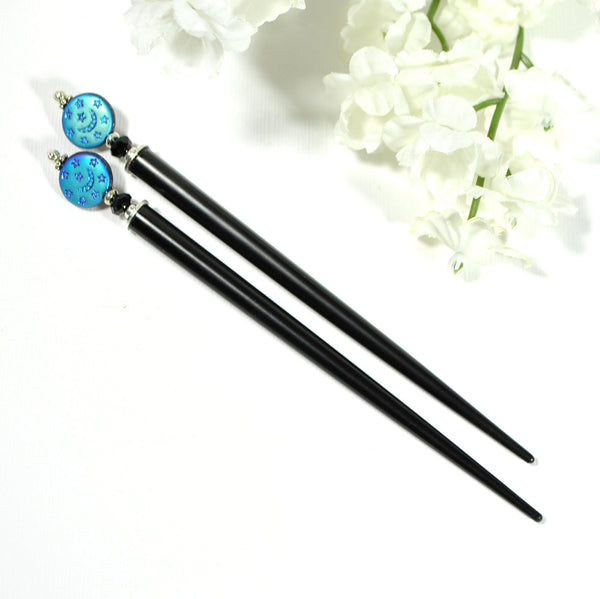 "Moon Hair Sticks Beaded Hairsticks - ""Destiny"""