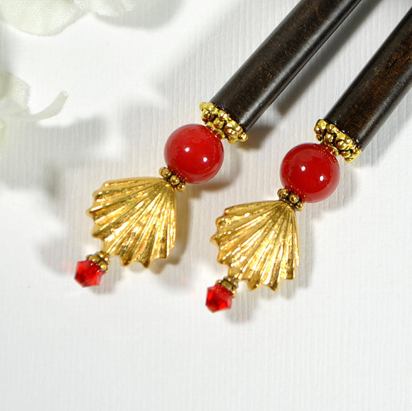 "Seashell Hair Stick Red Gold Hair Accessory - ""Glimmer"""