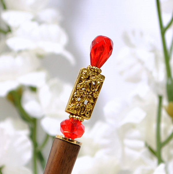 "Hairstick Red Bun Pin Hair Chopstick - ""Lend Me Your Heart"" - Handmade by Purple Moon Designs"