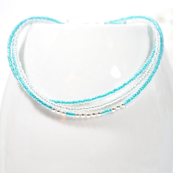 Layering Anklets Set of 3 Blue Ankle Bracelets