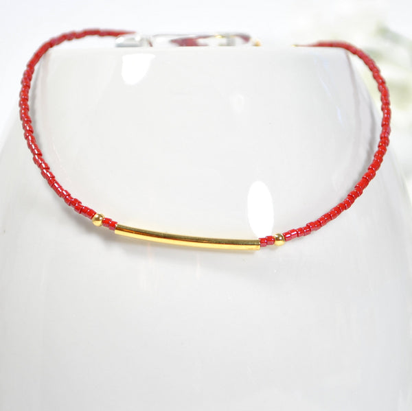 Red Anklet Bar Ankle Bracelet Stacking Anklet