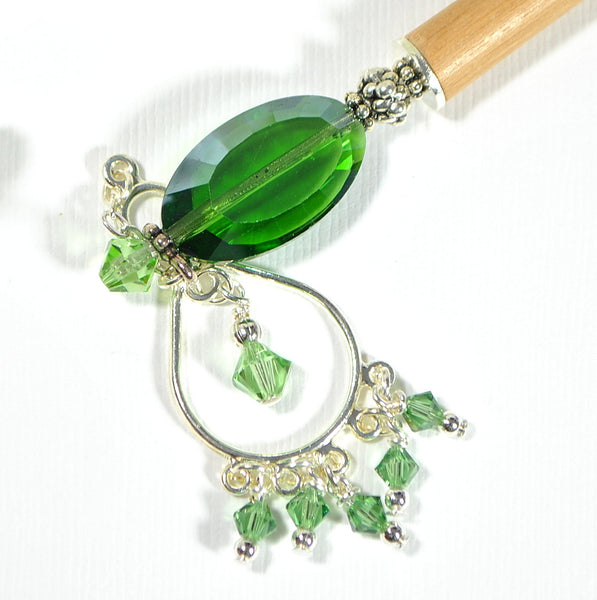 "Green Hair Stick Dangle Charm Hairstick - ""Absolute"""