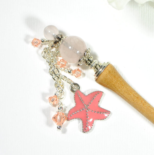 "Starfish Hairstick Beach Hair Dangle  - ""Morning Star"""