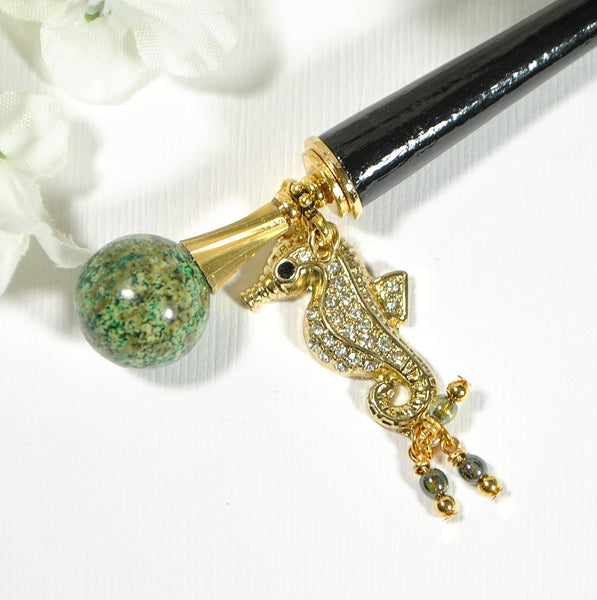 "Seahorse Hair Stick Beach Hair Charm - ""A Different Perspective"""
