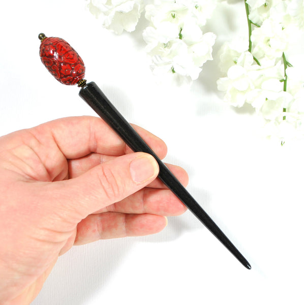 "Beaded Hairstick 5.25 inch Chinese Hair Stick - ""Fortune"" - Handmade by Purple Moon Designs"