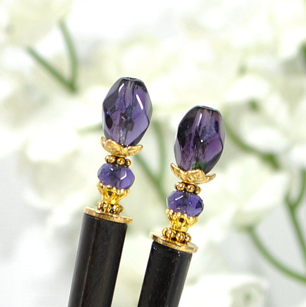"Japanese Hairsticks Purple Gold Hair Sticks - ""Ballad"" - Handmade by Purple Moon Designs"