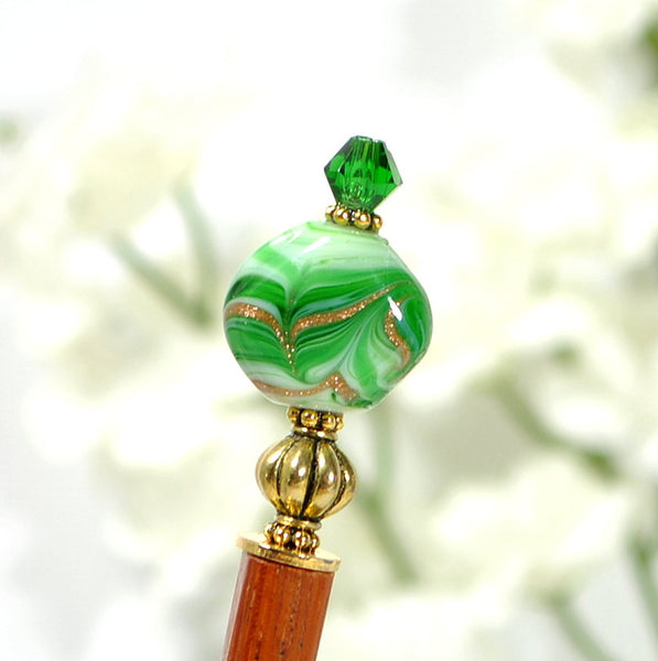 "Japan Hair Stick Green Hairstick - ""Forest Glow"" - Handmade by Purple Moon Designs"