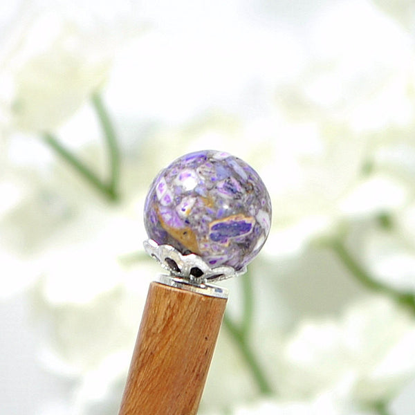 "Chinese Hair Stick Purple Hairstick - ""Anticipation"" - Handmade by Purple Moon Designs"