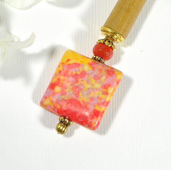 "Sold - Beaded Hair Stick Japanese Hair Pin Handmade - ""Starfire"""