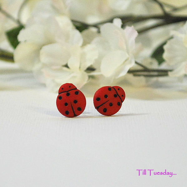 Red Ladybug Earrings, Small Post Earrings - Purple Moon Designs - 1