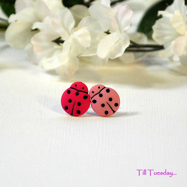 Ladybug Earrings, Small Button Earrings, Miss Matched Pink Posts - Handmade by Purple Moon Designs