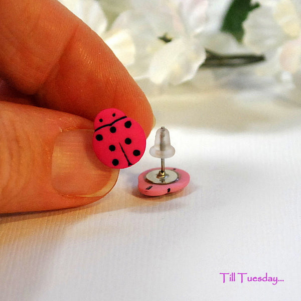 Ladybug Earrings, Small Button Earrings, Miss Matched Pink Posts - Purple Moon Designs - 2