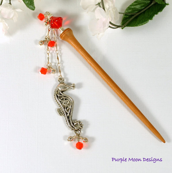 Seahorse Charm Hair Stick, Geisha Hairstick 4 inch - Purple Moon Designs - 2