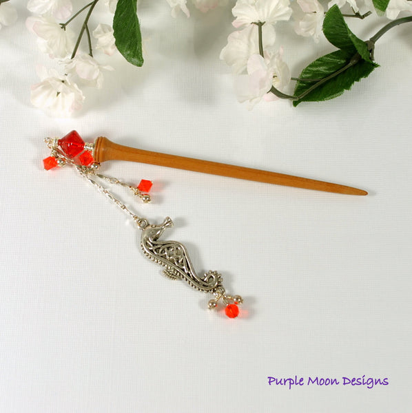 Seahorse Charm Hair Stick, Geisha Hairstick 4 inch - Purple Moon Designs - 3