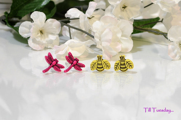 Garden Earrings, Yellow Honey Bee, Pink Dragonfly, 1/2 inch - Purple Moon Designs - 1