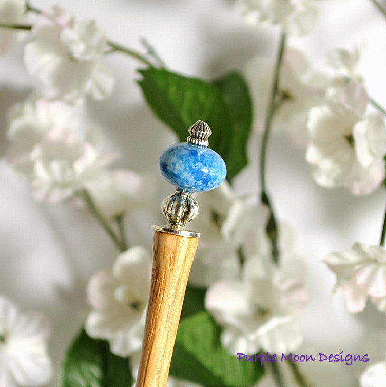 Going Mad - Denim Blue with Silver Hair Stick, 5 inch Wood Hairstick - Purple Moon Designs - 1