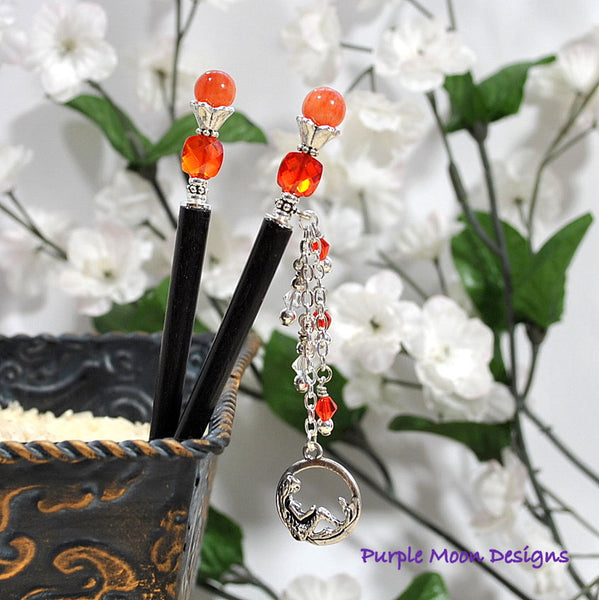 Orange Mermaid Charm Hairstick, 4 inch - Purple Moon Designs - 1