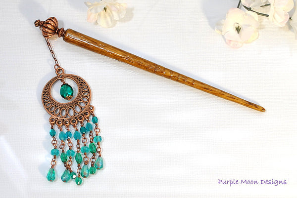 Teal and Copper Chandelier Hairstick, Gypsy Hair Accessory, 5 inch - Purple Moon Designs - 5
