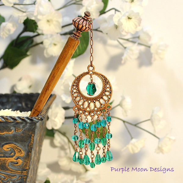 Teal and Copper Chandelier Hairstick, Gypsy Hair Accessory, 5 inch - Purple Moon Designs - 2