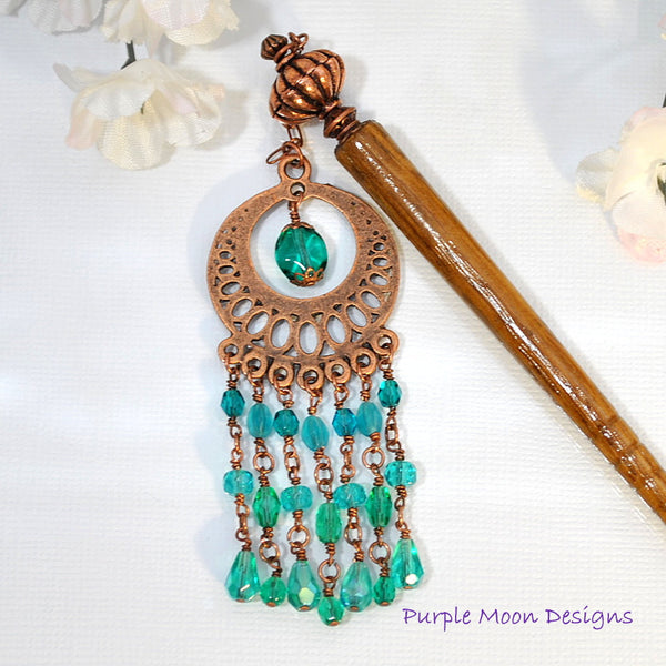 Teal and Copper Chandelier Hairstick, Gypsy Hair Accessory, 5 inch - Purple Moon Designs - 4