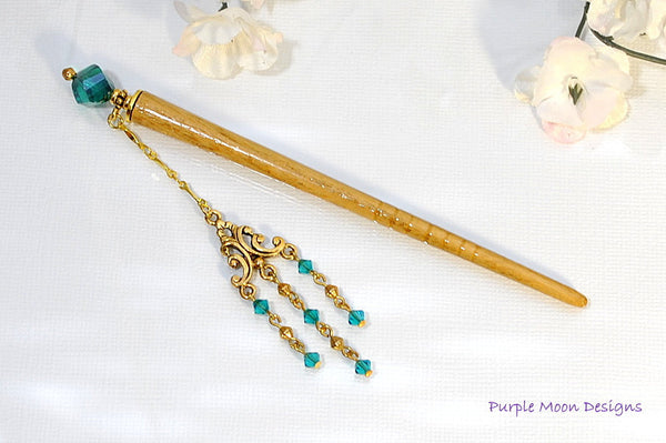 Teal Blue Geisha Charm Hair Stick, 4 inch Hair Stick - Purple Moon Designs - 3
