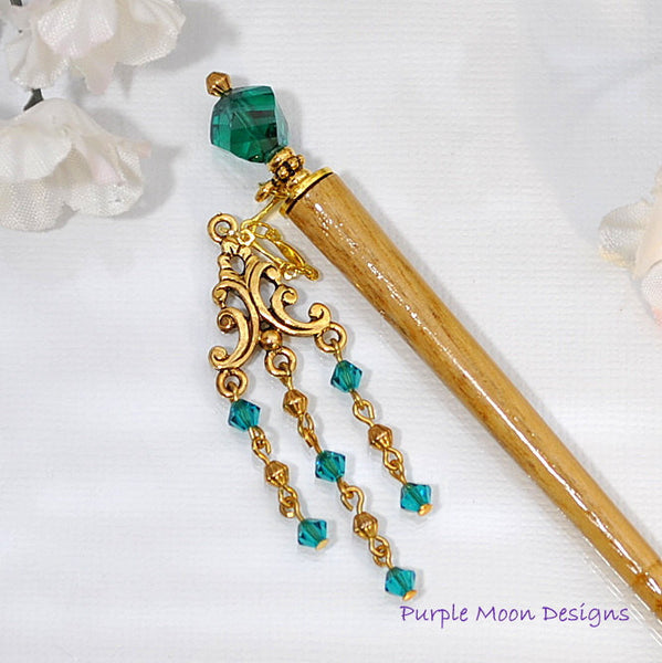 Teal Blue Geisha Charm Hair Stick, 4 inch Hair Stick - Purple Moon Designs - 2