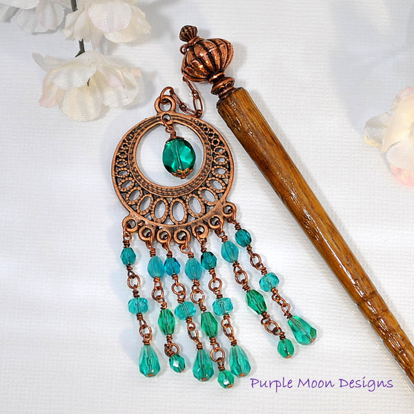 Teal and Copper Chandelier Hairstick, Gypsy Hair Accessory, 5 inch - Purple Moon Designs - 3
