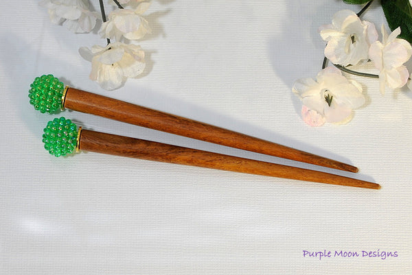 Pair of Green Hair Stick, Hair Jewelery - Purple Moon Designs - 3